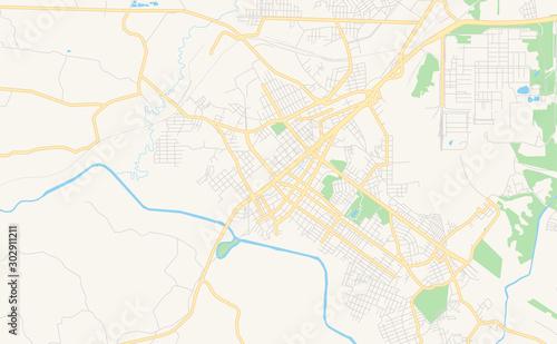 Printable street map of Araucaria, Brazil Wallpaper Mural