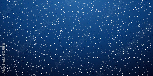 Foto auf Leinwand Blaue Nacht Snow blue background. Christmas snowy winter design. White falling snowflakes, abstract landscape. Cold weather effect. Magic nature fantasy snowfall texture decoration Vector illustration