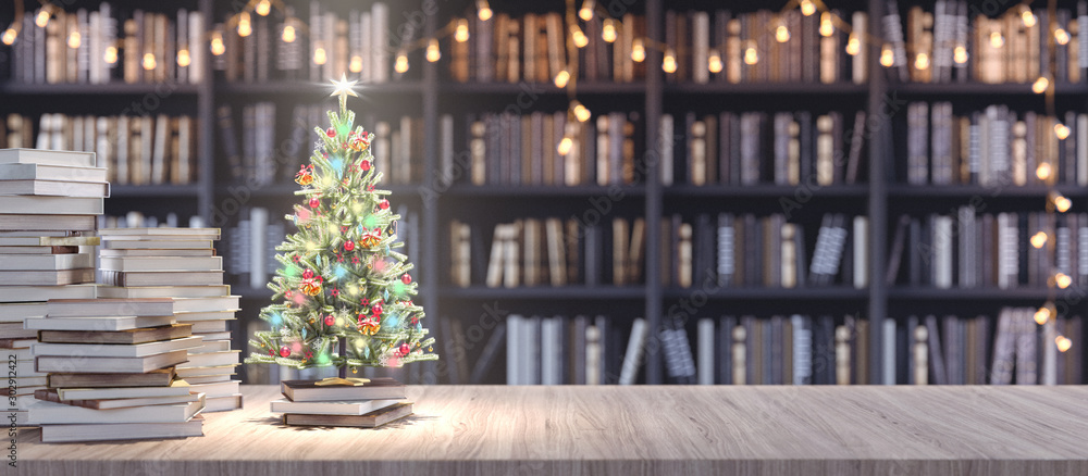 Fototapeta Decorated Christmas tree on Bookshelf in the library with old books, Holidays in Bookstore concept 3d render 3d illustration