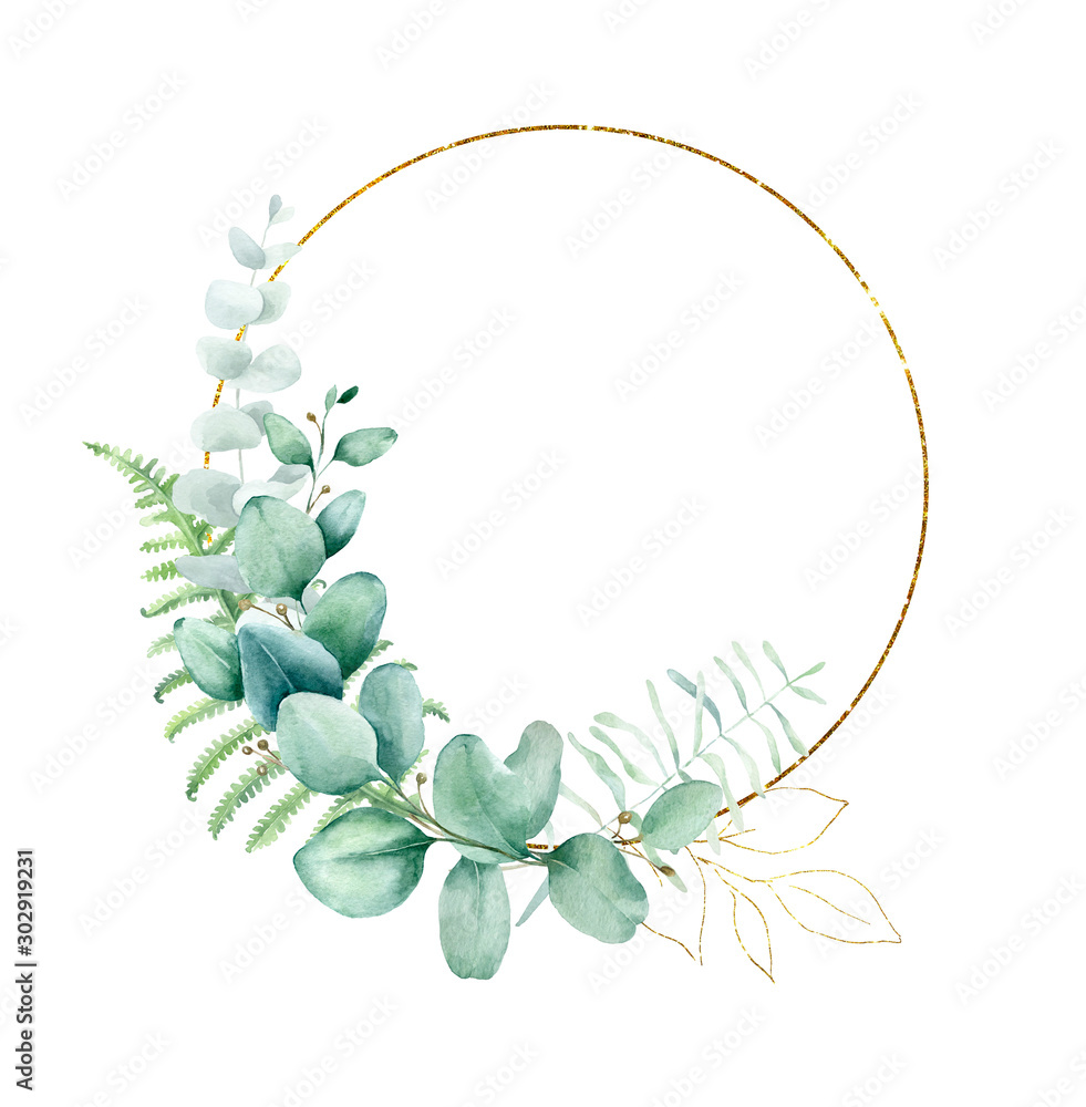 Fototapety, obrazy: Watercolor hand painted frame with tropical green leaves and branches. Frame for wedding invitations, save the date or greeting cards..