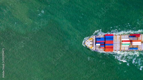 Foto auf Leinwand Rotterdam Aerial view container cargo ship, import export business logistic and transportation of International.