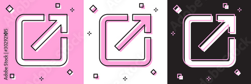 Photo Set Open in new window icon isolated on pink and white, black background