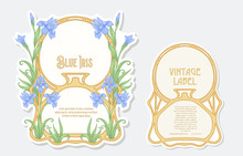Iris Flower. Set Of 2 Labels, ...