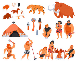 Primitive Men Cartoon Icons Set