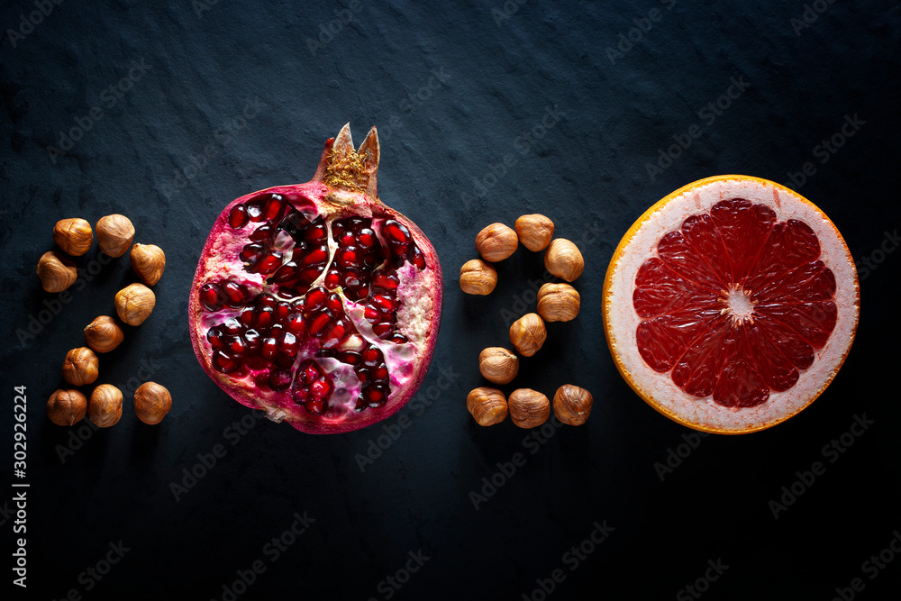 Fototapety, obrazy: Healthy holidays food and diet. New year's 2020 decisions about a healthy lifestyle.