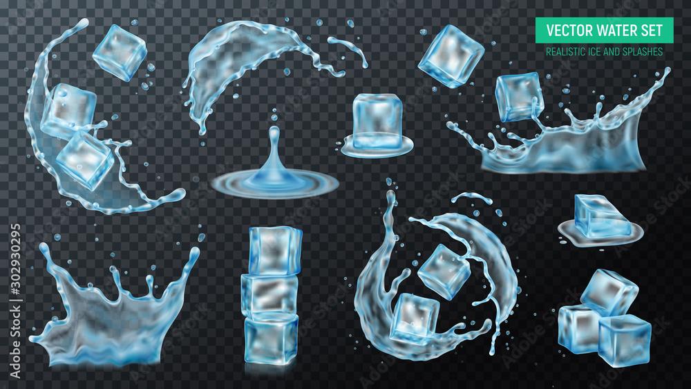Fototapety, obrazy: Water Ice Splash Set