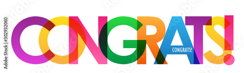 Fotografie, Obraz  CONGRATS! colorful vector typography banner