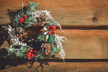 Advent Christmas Wreath On Wooden Door Decoration. Lettering Merry Christmas Minimal Winter Vacation Idea.