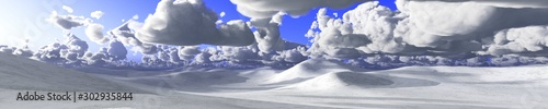 Poster Gris Snow covered hills, snow clouds. 3d rendering.