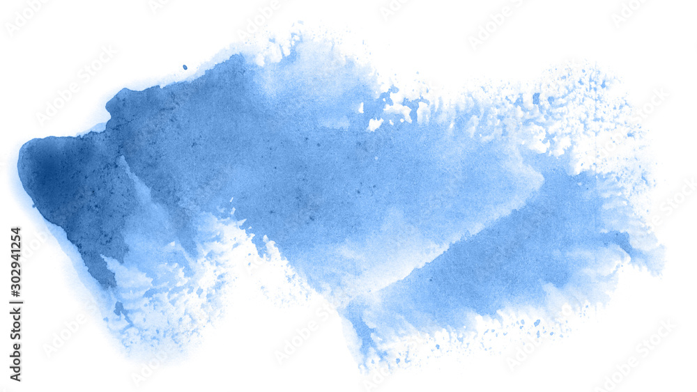 Fototapeta Abstract watercolor background hand-drawn on paper. Volumetric smoke elements. Blue color. For design, web, card, text, decoration, surfaces.