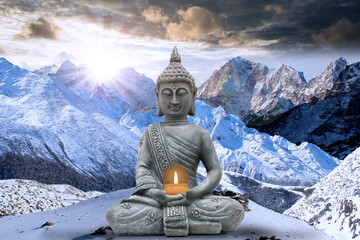 Fototapeta Do Spa Buddha on mountains and silence