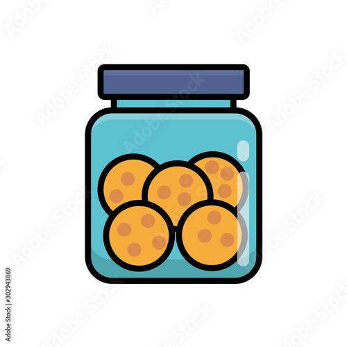 Cookies in jar vector illustration isolated on white background Fototapet