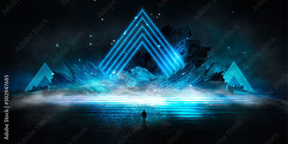 Fototapety, obrazy: Futuristic night landscape with abstract landscape and island, moonlight, shine. Dark natural scene with reflection of light in the water, neon blue light. Dark neon circle background. 3D illustration