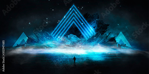 Obraz Futuristic night landscape with abstract landscape and island, moonlight, shine. Dark natural scene with reflection of light in the water, neon blue light. Dark neon circle background. 3D illustration - fototapety do salonu