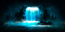 Futuristic Night Landscape Wit...