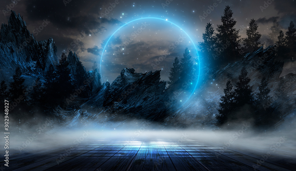 Fototapety, obrazy: Futuristic night landscape with abstract landscape and island, moonlight, shine. Dark natural scene with reflection of light in the water, neon blue light. Dark neon background. 3D illustration
