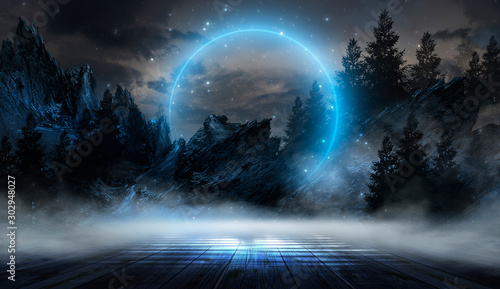 Obraz Futuristic night landscape with abstract landscape and island, moonlight, shine. Dark natural scene with reflection of light in the water, neon blue light. Dark neon background. 3D illustration - fototapety do salonu