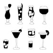Hand drawn cocktails collection. Vector sketch bar illustration.