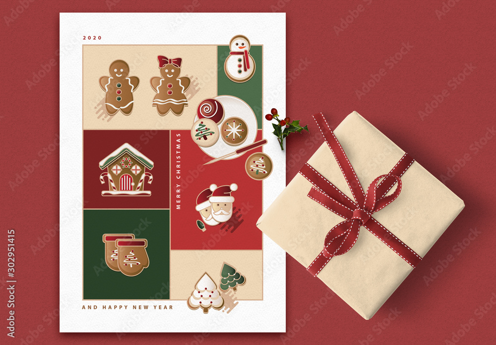 Fototapeta Greeting Card Layout with Christmas Illustrations