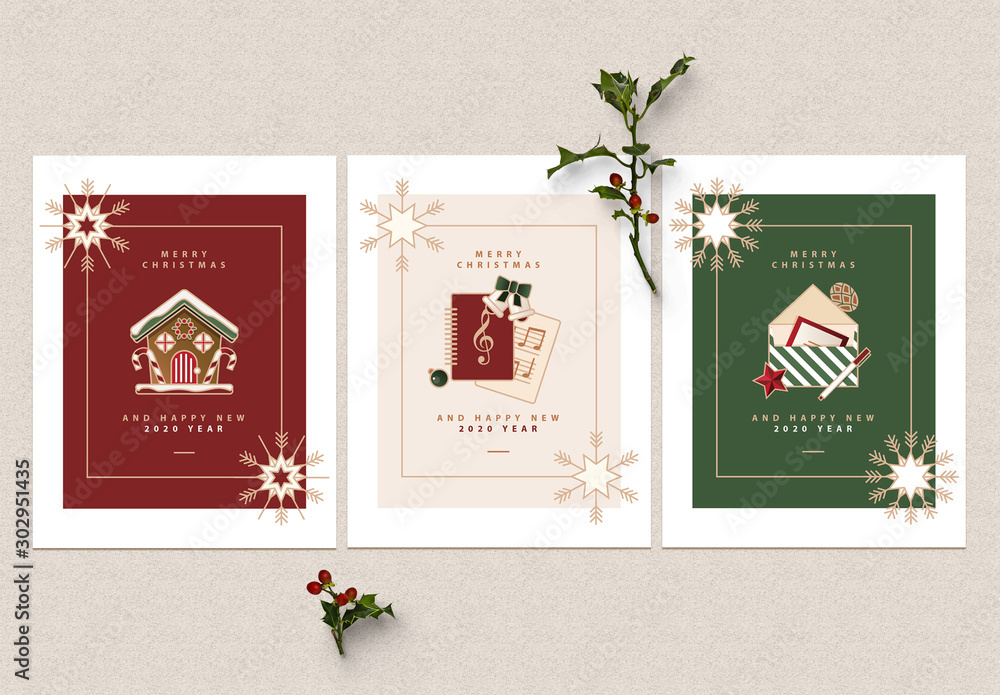 Fototapety, obrazy: Greeting Card Layout Set with Christmas Illustrations