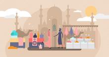 Arabic Market Trade Flat Tiny Persons Vector Illustration Concept