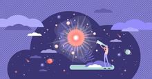 Big Bang Theory Exploration Flat Tiny Person Concept Vector Illustration