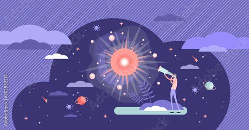 Big bang theory exploration flat tiny person concept vector illustration Canvas Print