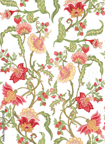 Fényképezés Seamless pattern with stylized ornamental flowers in retro, vintage style