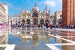 Cathedral Basilica of Saint Mark and Piazza San Marco, St Mark Square, deluged by flood water during Acqua alta which means High water, Venice, Italy