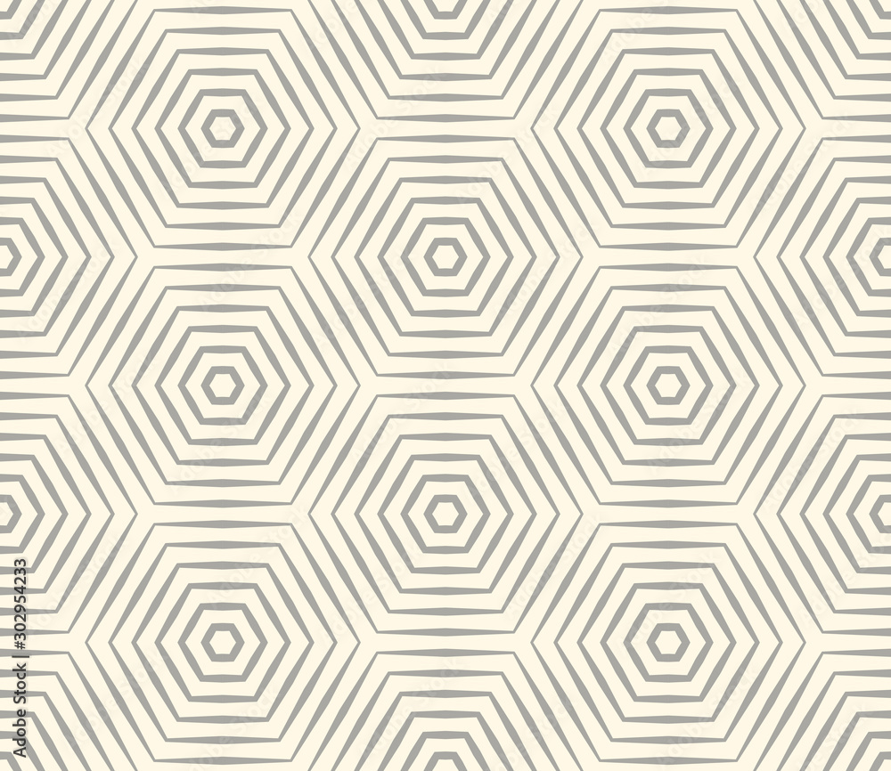 Fototapeta Halftone linear hexagon seamless pattern. Optical illusion geometric background. Vector illustration.