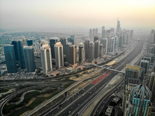 Dubai, Dubai / United Arab Emirates / 10 19 2019: Jumeirah Lake Towers And Sheikh Zayed Road
