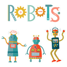 Vector Fun Robots Kid's Illu...