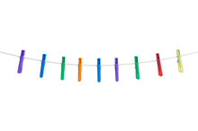 Color Clothespins Rope On White Background Isolation