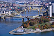 PITTSBURGH - NOVEMBER 2019:      A Spectacular View Of Pittsburgh's Downtown Skyline And Rivers Meeting At Fort Pitt Park.