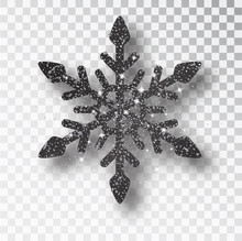 Black Snowflake, Christmas Black Decoration, Covered Bright Glitter. Black Glitter Texture Snowflake Isolated. Xmas Ornament Silver Snow With Bright Sparkle