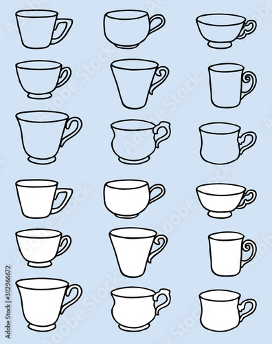 Valokuva  Vector image of set various outlines tea cups