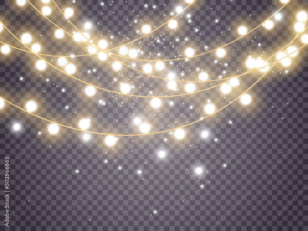 Fototapeta Christmas lights isolated on transparent background. Vector illustration.