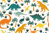 Fototapeta Dino - Hand drawn seamless pattern with dinosaurs and tropical leaves and flowers. Perfect for kids fabric, textile, nursery wallpaper. Cute dino design. Vector illustration.