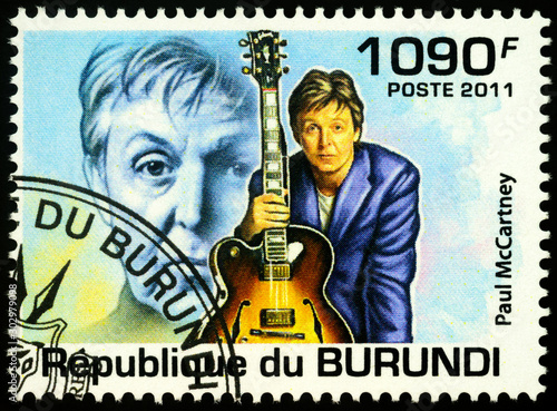 Photo  English musician Paul McCartney on postage stamp