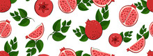 Sketched Hand Drawn Fresh Pomegranate Seamless Pattern Print On T-shirt, Wallpaper Of Children's Room, Fruit Background. Piece Of Pomegranate With Seeds, Green Leaves Isolated On A White Background.