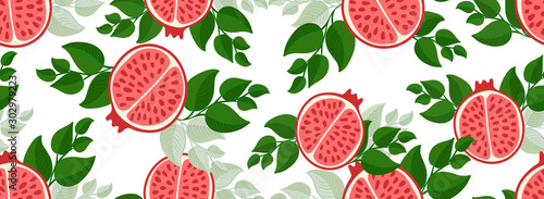 Sketched Hand drawn pomegranate seamless pattern print on t-shirt, wallpaper of children's room, fruit background. Fresh Piece of pomegranate with seeds, green leaves isolated on a white background.
