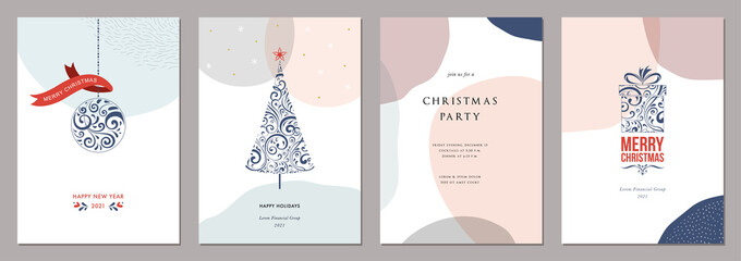 Merry Christmas and Bright Corporate Holiday cards. Modern abstract creative universal artistic templates.