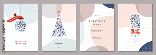 Obraz Merry Christmas and Bright Corporate Holiday cards. Modern abstract creative universal artistic templates. - fototapety do salonu