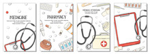 Set Of Posters On The Theme Of Health. Medicines, Medical Equipment And Pills On White Background.