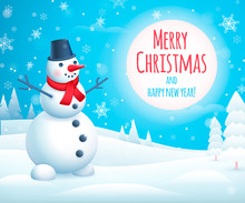 Holiday Greeting Design With Cute Snowman