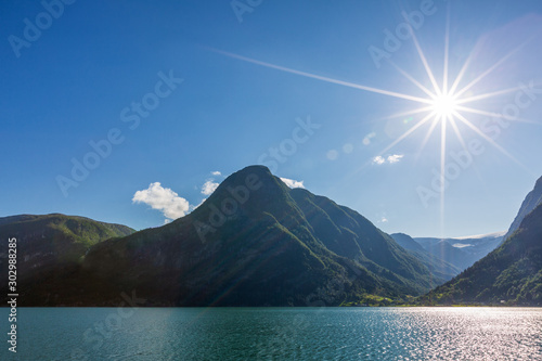 Foto op Canvas Noord Europa Mountains and fjord in sunny summer day, Norway