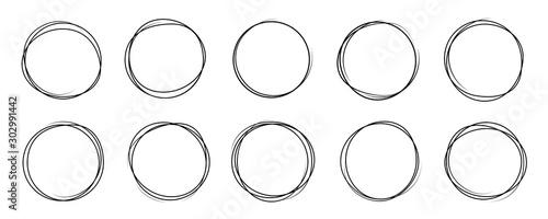 Fototapeta Hand drawning circle line sketch set. Art design round circular scribble doodle - stock vector. obraz