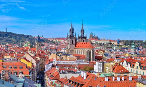 View of colorful old town in Prague.