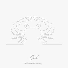 Continuous Line Drawing. Crab. Simple Vector Illustration. Crab Concept Hand Drawing Sketch Line.