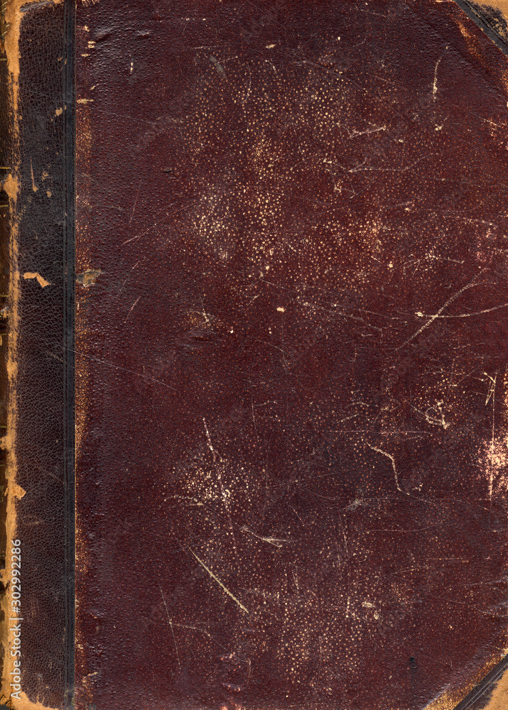 Fototapety, obrazy: Old paper texture. Brown book cover. Rough faded surface. Blank retro page. Empty place for text. Perfect for background and vintage style design.